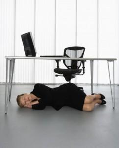 Asleep under desk